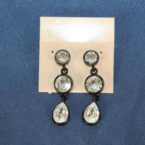 Women's Black / Crystal 3 Drop Pierced Earrings